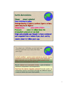Earth's vital statistics Shape: almost spherical almost spherical Size