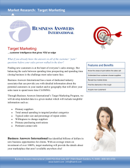 Target Marketing Market Research: Target Marketing