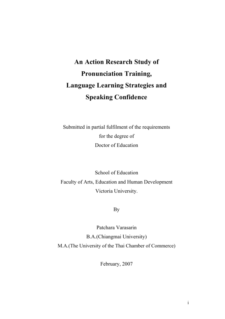 An Action Research Study of Pronunciation Training