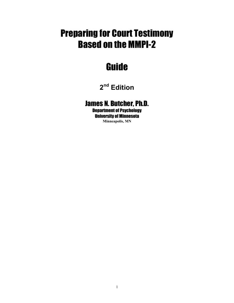 Preparing for Court Testimony Based on the MMPI