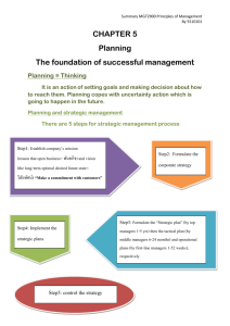 CHAPTER 5 Planning The foundation of successful management Step5