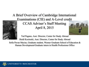 A Brief Overview of Cambridge International Examinations (CIE) and