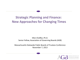 Strategic Planning and Finance: New Approaches for Changing Times