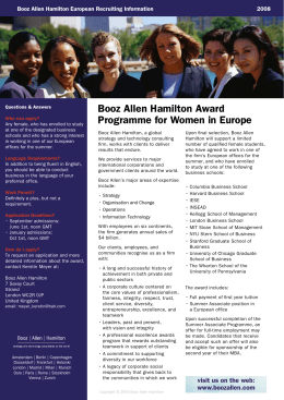 Booz Allen Hamilton Award Programme for Women in Europe