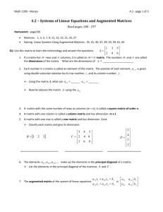 4.2 – Systems of Linear Equations and Augmented Matrices