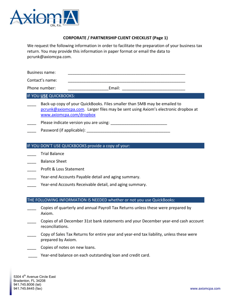CORPORATE / PARTNERSHIP CLIENT CHECKLIST (Page 1) We