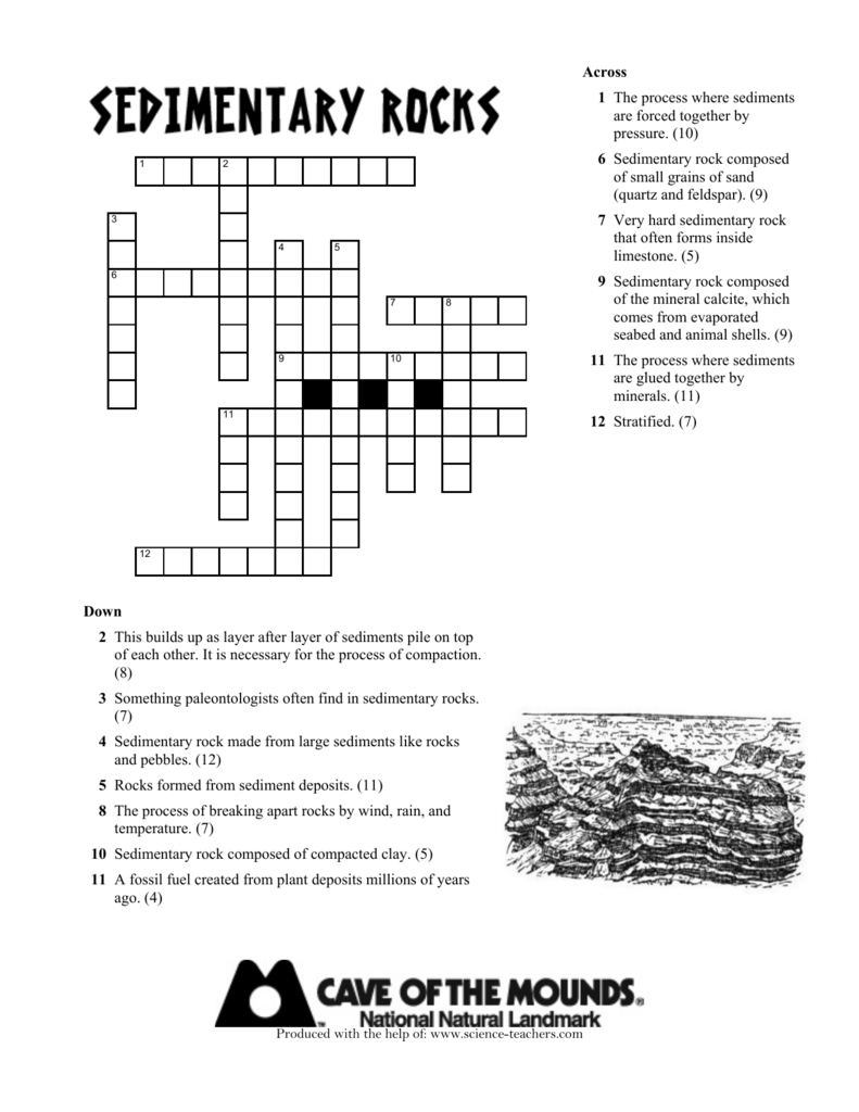 worksheet Sedimentary Rock Formation Worksheet sedimentary rocks crossword