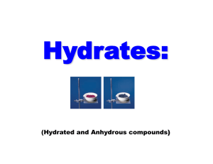 Hydrates – Hydrated and Anhydrous Compounds