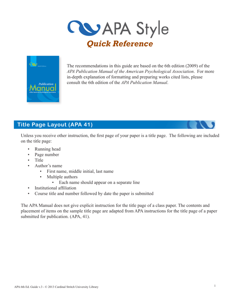 apa 6th edition title page template