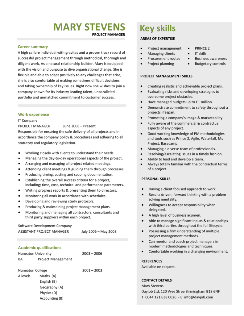 Project Manager Cv Template Resume
