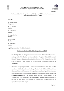 19.08.2015 Notice u/s 6(2) of the Competition Act, 2002 given by FIH