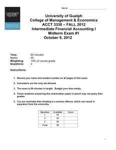Fall 2012 Midterm 1 - University of Guelph Exam Network