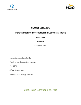 Introduction to International Business & Trade