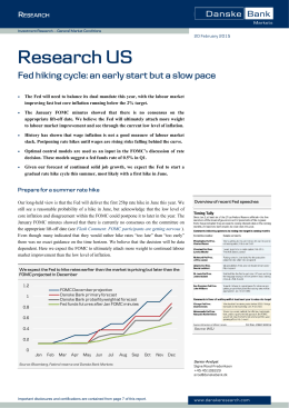 Research US: Fed hiking cycle: an early start but a slow pace