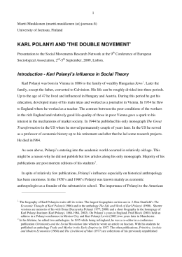 KARL POLANYI AND 'THE DOUBLE MOVEMENT'