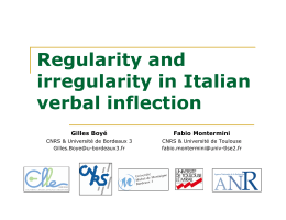 Regularity and irregularity in Italian verbal inflection