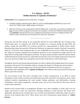 industrialization essay robber barons dbq