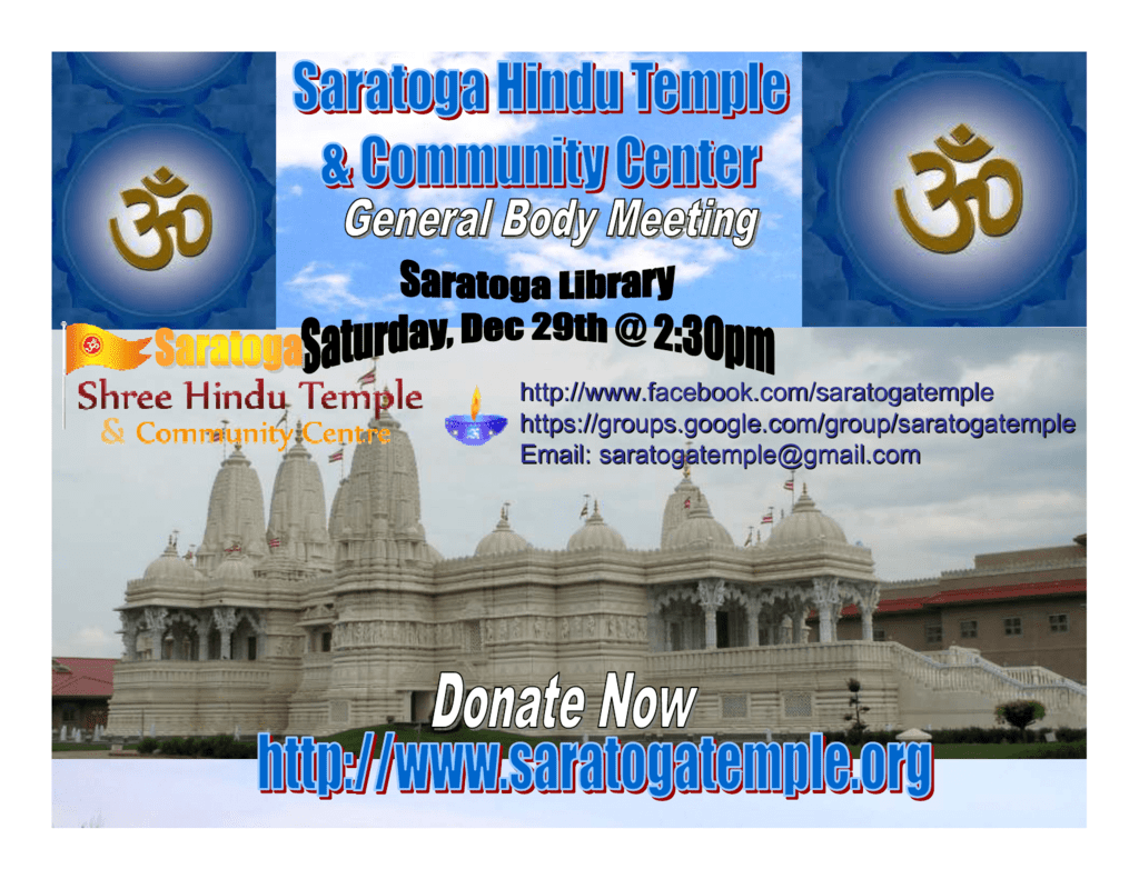 Sunnyvale Hindu Temple Calendar 2020 File   Saratoga Hindu Temple & Community Center