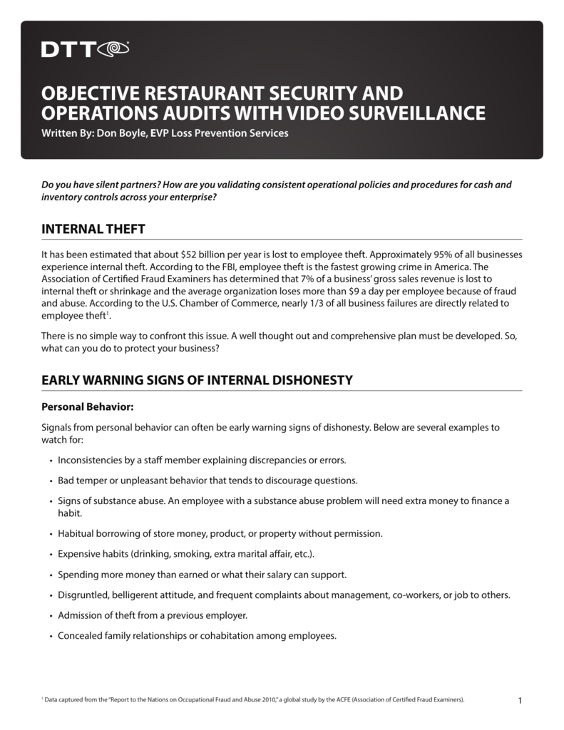 objective restaurant security and operations audits