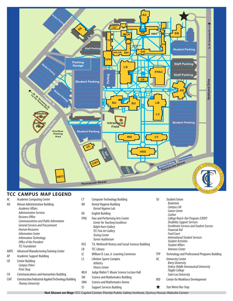 Tcc Campus Map Legend Florida History Fair
