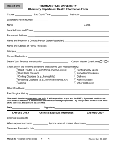 Health Form - Truman Chemistry Lab Page