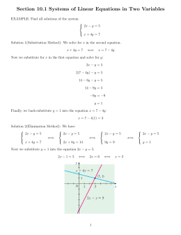 Section 10.1 Systems of Linear Equations in Two Variables