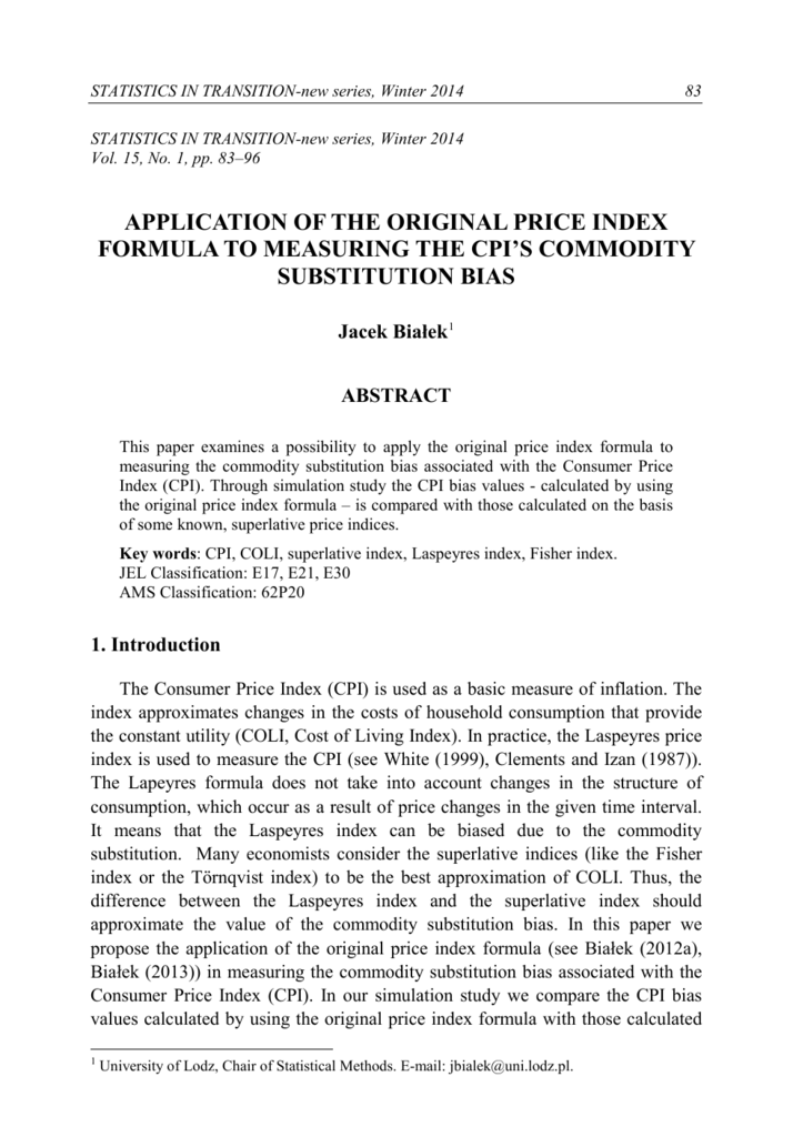 APPLICATION OF THE ORIGINAL PRICE INDEX FORMULA TO
