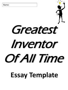 Greatest Inventor Notes and Rough Draft