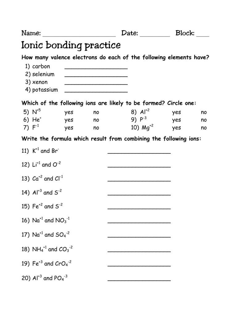 Ionic Bonding Practice