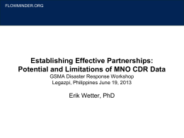 Potential and Limitations of MNO CDR Data