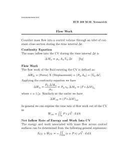 Flow Work Continuity Equation Flow Work Net In ow Rate of Energy