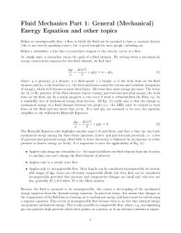 Fluid Mechanics Part 1: General (Mechanical) Energy Equation and