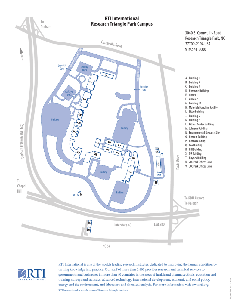 Rti Campus Map.Campus Map 011211 Rti International