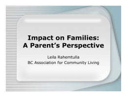 Impact on Families: A Parent's Perspective