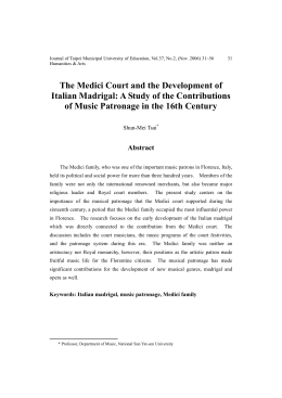 The Medici Court and the Development of Italian Madrigal: A Study