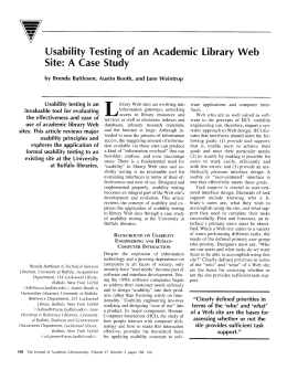 Usability Testing of an Academic Library Web Site: A Case Study