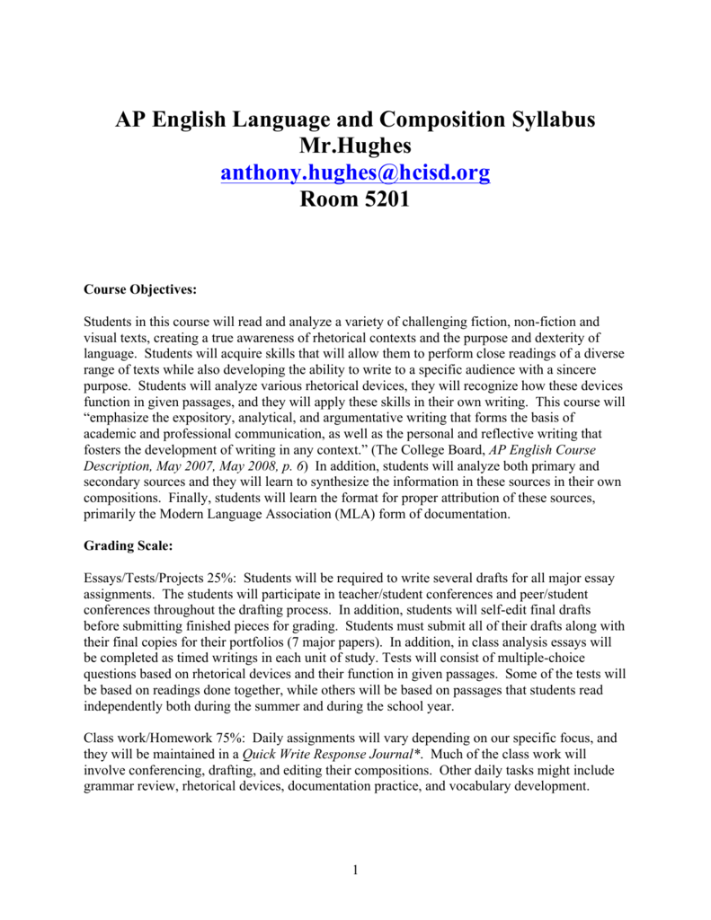 ap language and composition essay grading scale