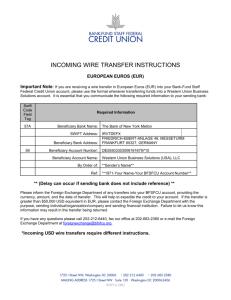 Customer Information Sheet for Inward Payments to Hong Kong