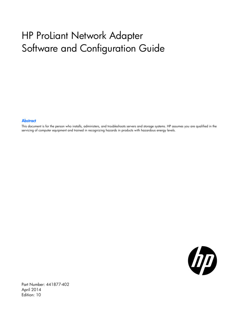 HP ProLiant Network Adapter Software and - Hewlett