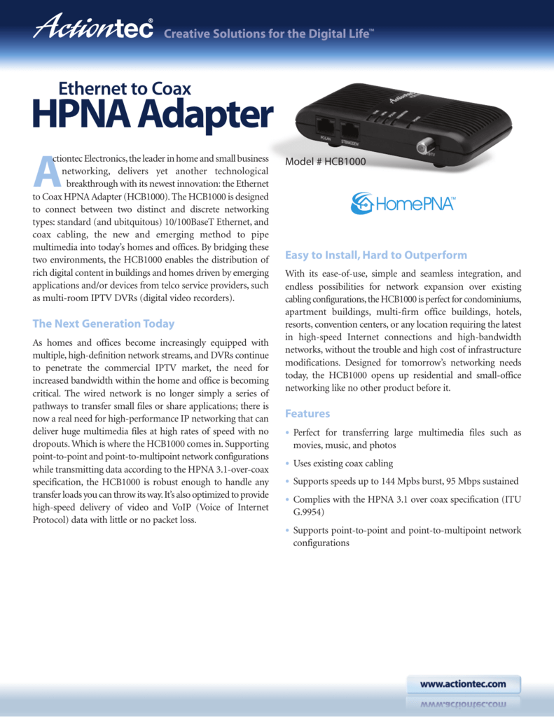 Homepna Adapter Coax Sim Home Amazoncom Actiontec Ethernet Over Kit For Homes Without Hpna Network Product
