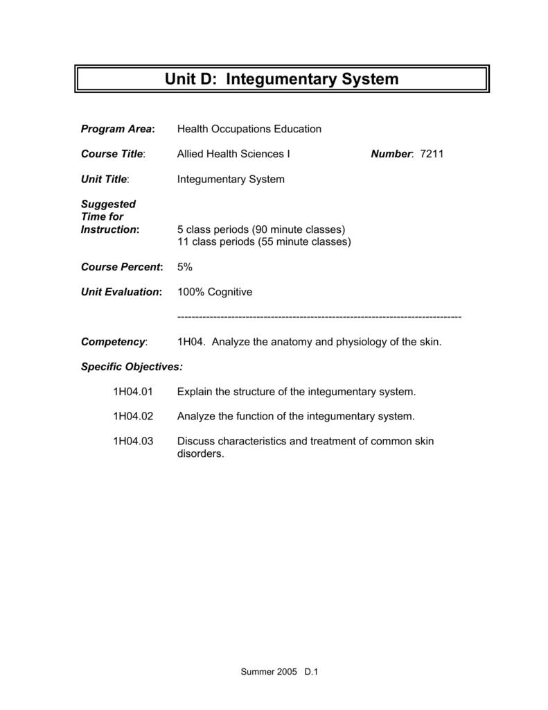 Unit D: Integumentary System
