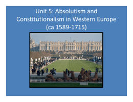 Absolutism and Constitutionalism in Western Europe