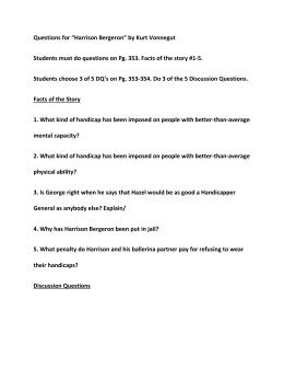 harrison bergeron questions for ldquoharrison bergeronrdquo by kurt vonnegut students must