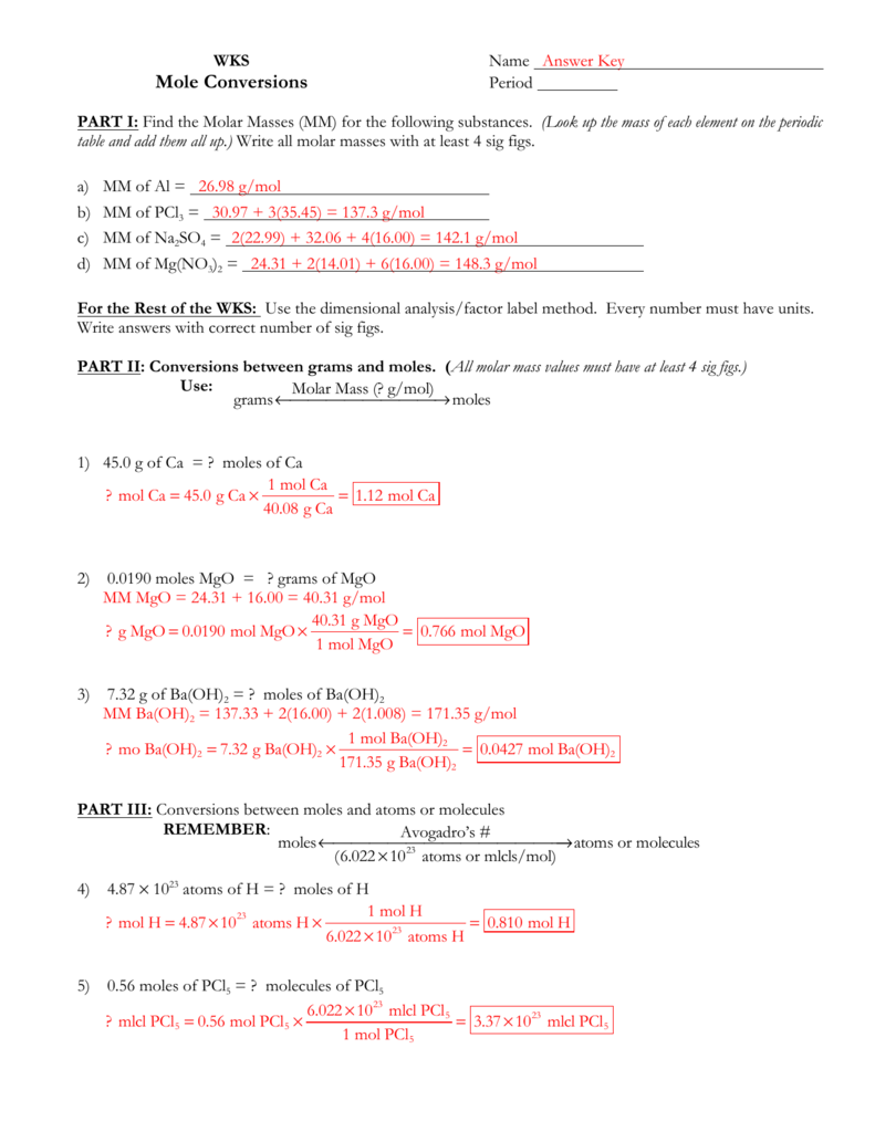 - Molar Conversions Worksheet Answer Key - Worksheet List