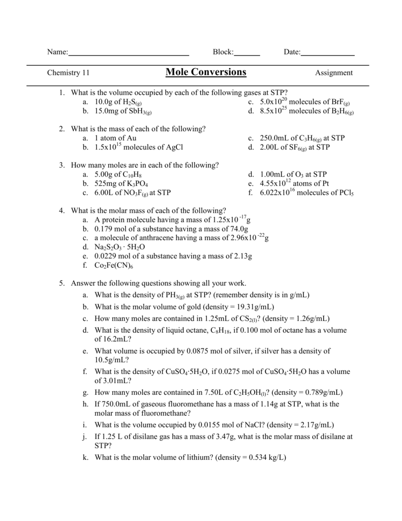 worksheet Molar Volume Worksheet mole conversions worksheet