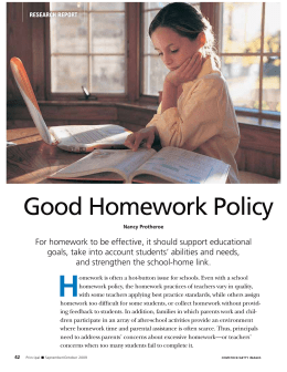 Good Homework Policy - National Association of Elementary School