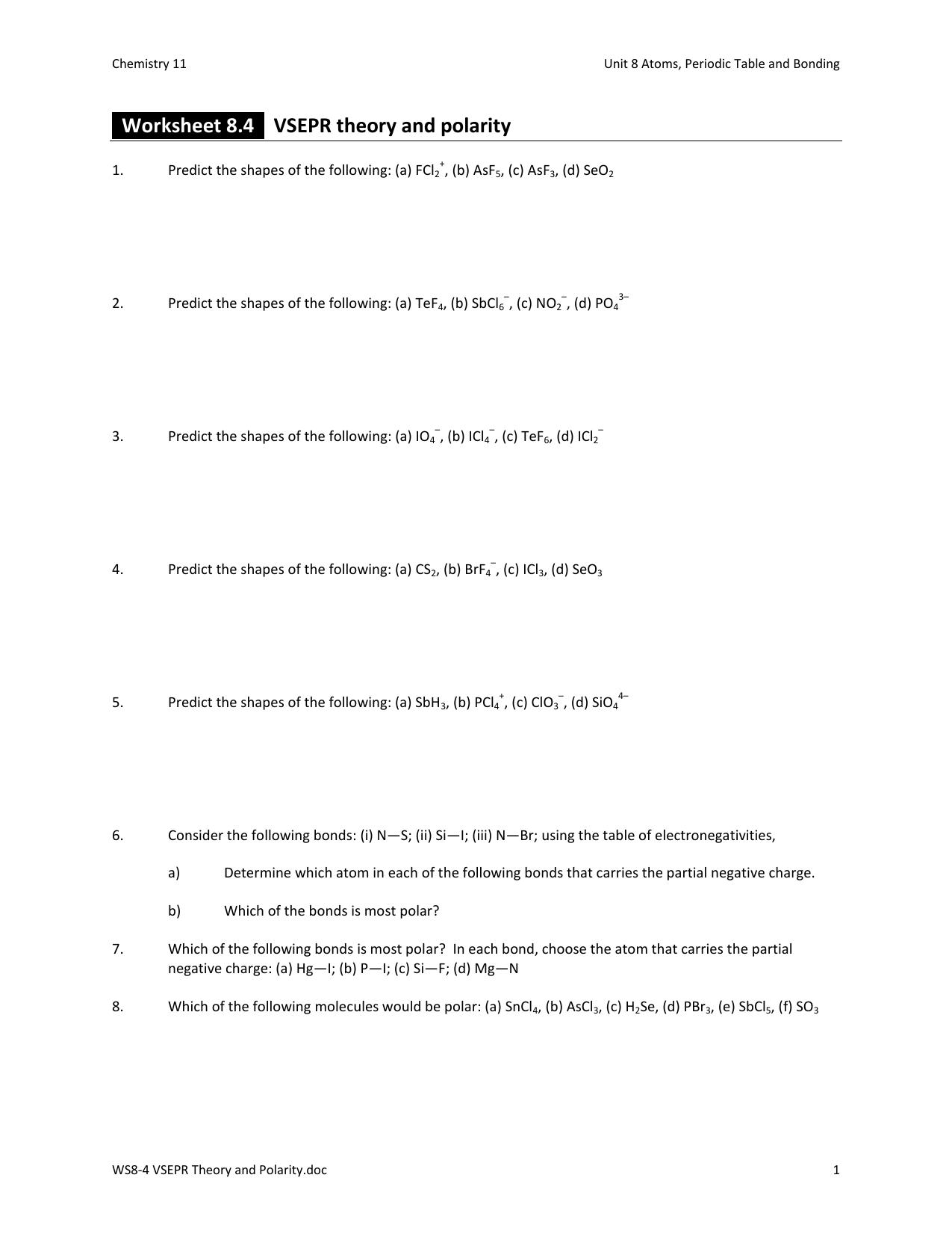 worksheet Vsepr Worksheet With Answers ws8 4 vsepr theory and polarity
