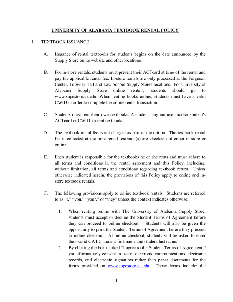 University Of Alabama Online >> University Of Alabama Textbook Rental Policy