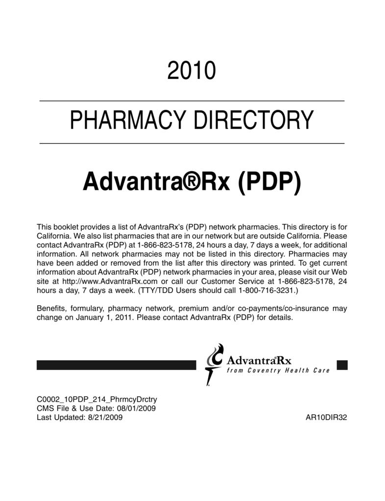 c98a8020 2010 PHARMACY DIRECTORY Advantra®Rx (PDP)