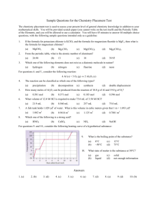Sample Questions for the Chemistry Placement Test Answers